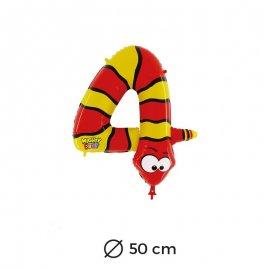 Palloncino Serpente Numero 4 Foil 50 cm