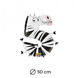 Palloncino Zebbra Numero 5 Foil 50 cm