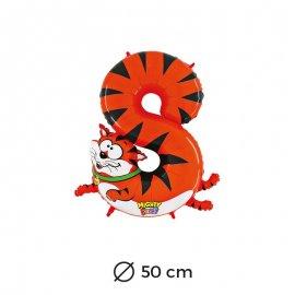 Palloncino Tigre Numero 8 Foil 50 cm