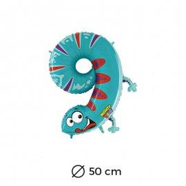 Palloncino Salamandra Numero 9 Foil 50 cm