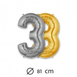 Palloncino Numero 3 Foil 81 cm