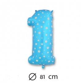 Palloncino Numero 1 Foil Blu con Stelle 81 cm