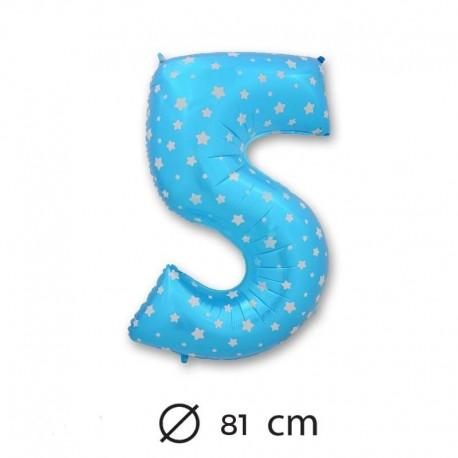Palloncino numero 5 foil blu con stelle 81 cm for Numero parlamentari 5 stelle