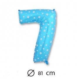 Palloncino Numero 7 Foil Blu con Stelle 81 cm