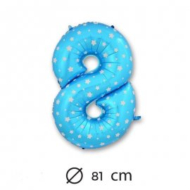 Palloncino Numero 8 Foil Blu con Stelle 81 cm