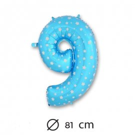 Palloncino Numero 9 Foil Blu con Stelle 81 cm