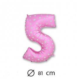 Palloncino Numero 5 Foil Rosa con Cuori 81 cm