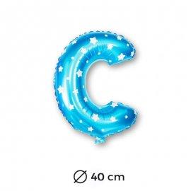 Palloncino Lettera C Foil in Blu con Stelle 40 cm