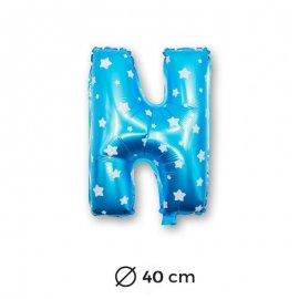 Palloncino Lettera N Foil in Blu con Stelle 40 cm