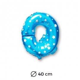Palloncino Lettera Q Foil in Blu con Stelle 40 cm
