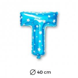 Palloncino Lettera T Foil in Blu con Stelle 40 cm