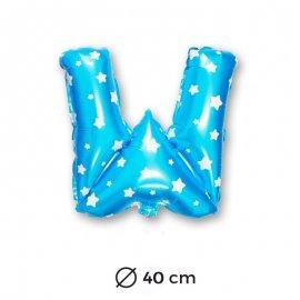 Palloncino Lettera W Foil in Blu con Stelle 40 cm