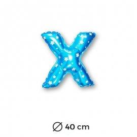 Palloncino Lettera X Foil in Blu con Stelle 40 cm