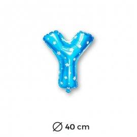 Palloncino Lettera Y Foil in Blu con Stelle 40 cm