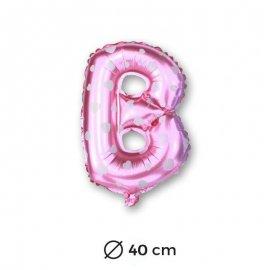 Palloncino Lettera B Foil in Rosa con Cuori 40 cm