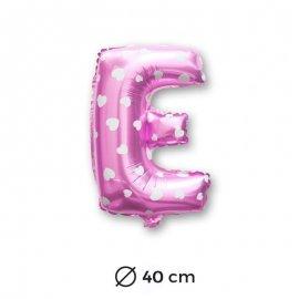 Palloncino Lettera E Foil in Rosa con Cuori 40 cm
