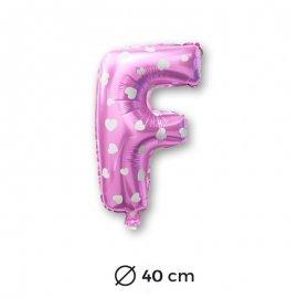 Palloncino Lettera F Foil in Rosa con Cuori 40 cm