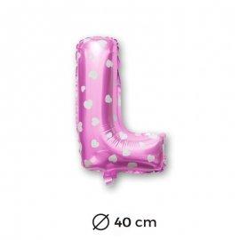 Palloncino Lettera L Foil in Rosa con Cuori 40 cm