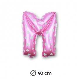 Palloncino Lettera M Foil in Rosa con Cuori 40 cm