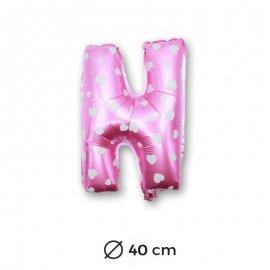 Palloncino Lettera N Foil in Rosa con Cuori 40 cm
