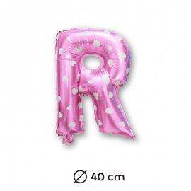 Palloncino Lettera R Foil in Rosa con Cuori 40 cm