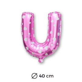 Palloncino Lettera U Foil in Rosa con Cuori 40 cm