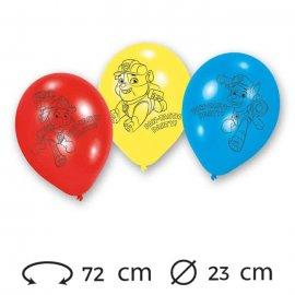 6 Globos Patrulla Canina Látex 23 cm