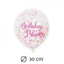 6 Globos con Confeti Princesa 30 cm