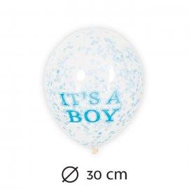 6 Globos de Confeti Niño 30 cm