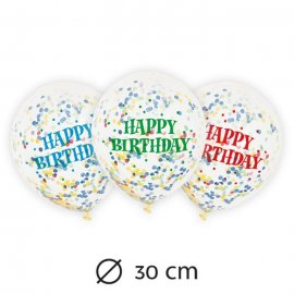 6 Palloncini con Coriandoli Happy Birthday