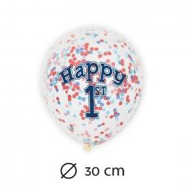 6 Palloncini con Coriandoli Primo Compleanno Bambino
