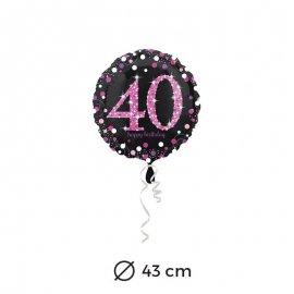 Globo 40 años Elegant Pink 43 cm