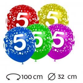 Palloncini Numero 5 Rotondi 32 cm