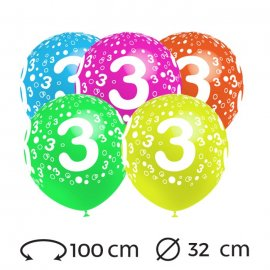 Palloncini Numero 3 Rotondi 32 cm