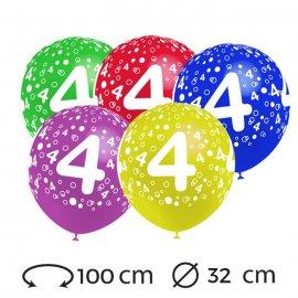 Palloncini Numero 4 Rotondi 32 cm