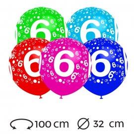Palloncini Numero 6 Rotondi 32 cm