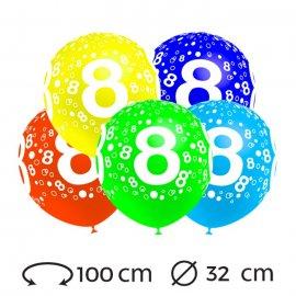 Palloncini Numero 8 Rotondi 32 cm