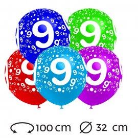 Palloncini Numero 9 Rotondi 32 cm
