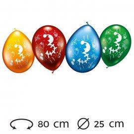 Palloncini Numero 3 Rotondi M02 25 cm