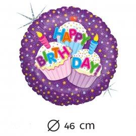 Palloncino Compleanno Dolcetti Foil Rotondo 46 cm