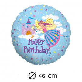 Palloncino Happy Birthday Fata Foil Rotondo 46 cm