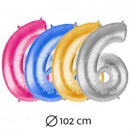 Palloncino Numero 6 Foil 102 cm