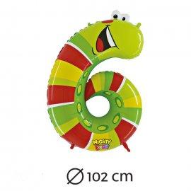 Palloncino Numero 6 Bruco Foil 102 cm