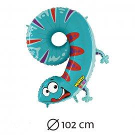 Palloncino Numero 9 Salamandra Foil 102 cm