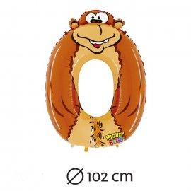 Palloncino Numero 0 Gorilla Foil 102 cm