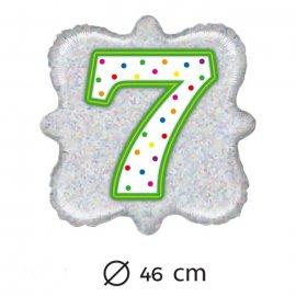 Palloncino Numero 7 Foil Quadrato 46 cm