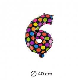 Palloncino Lunare Numero 6 Foil 40 cm